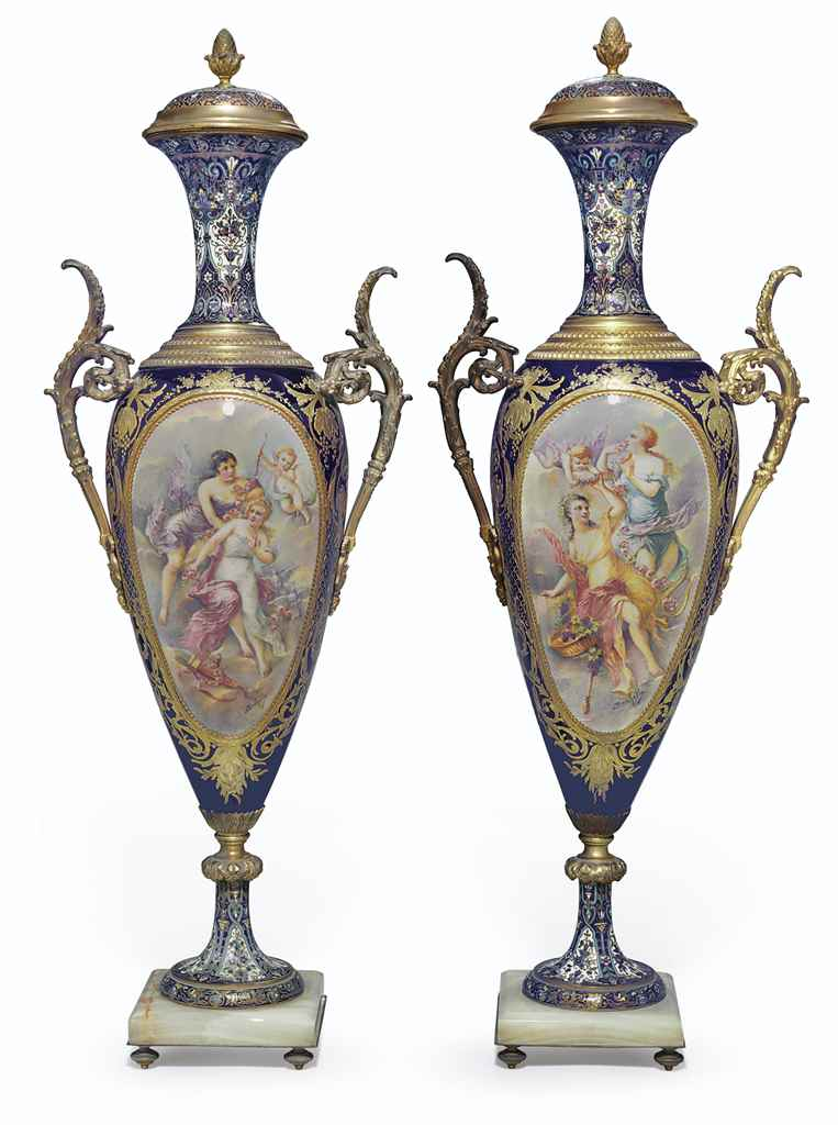 A PAIR OF ORMOLU, CHAMPLEVE AN