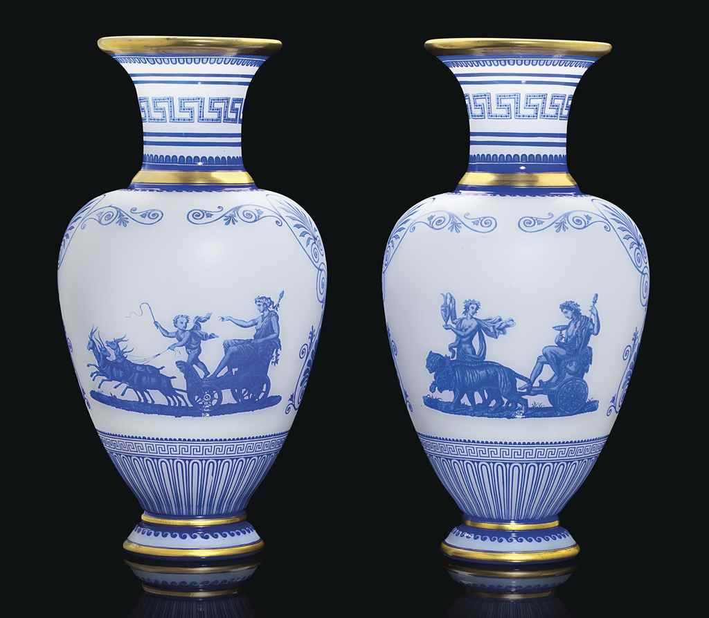 A PAIR OF BACCARAT OPALINE AND