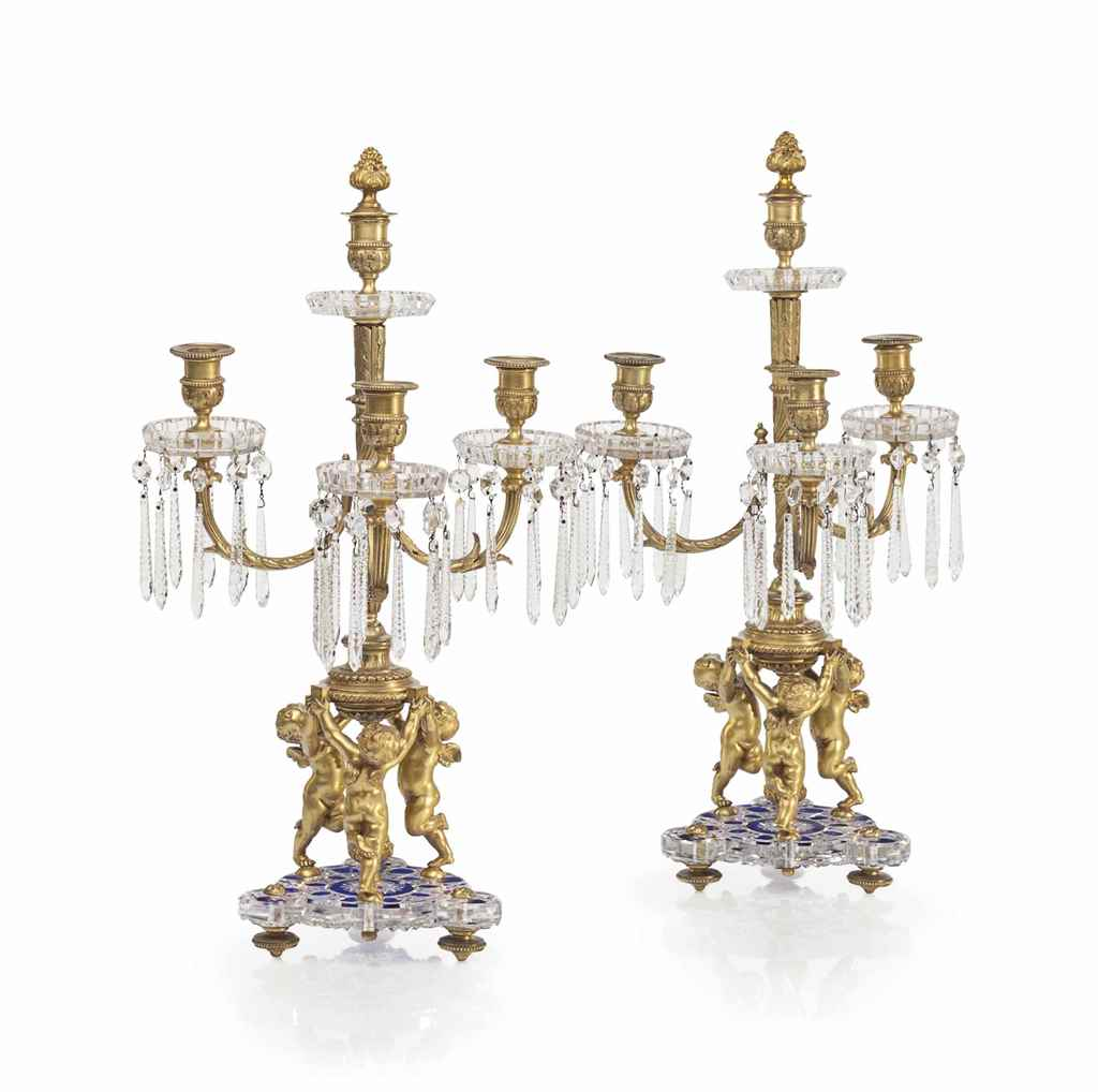 A PAIR OF ORMOLU AND CUT-CRYST