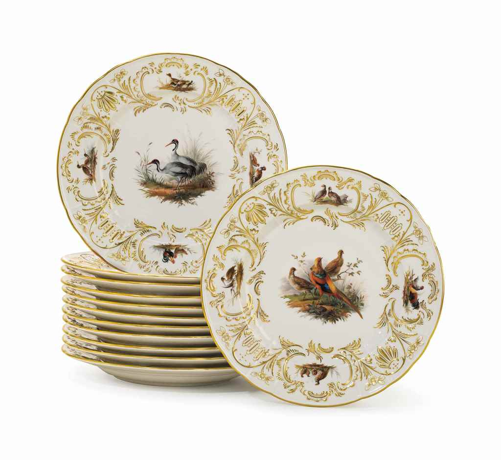 A SET OF TWELVE MEISSEN PORCEL