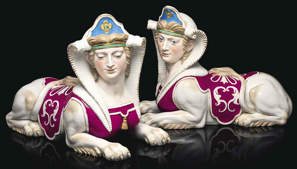 A VERY LARGE PAIR OF MEISSEN P