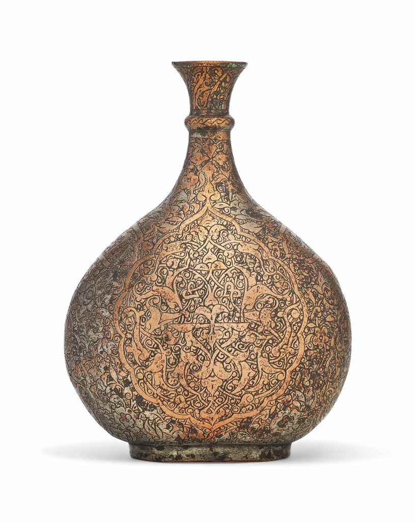 A TIMURID TINNED-COPPER FLASK