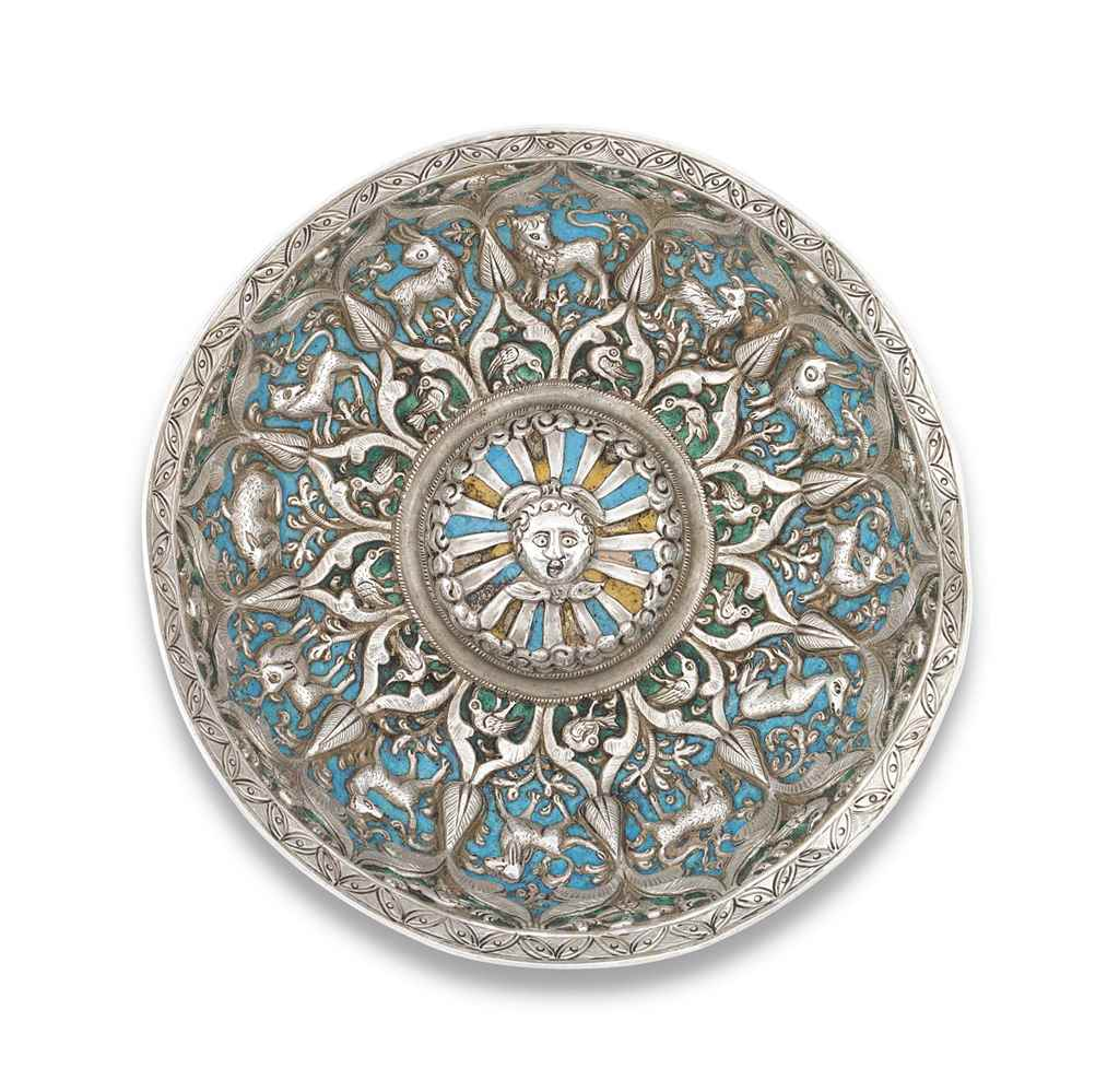 AN ARMENIAN ENAMELLED SILVER B