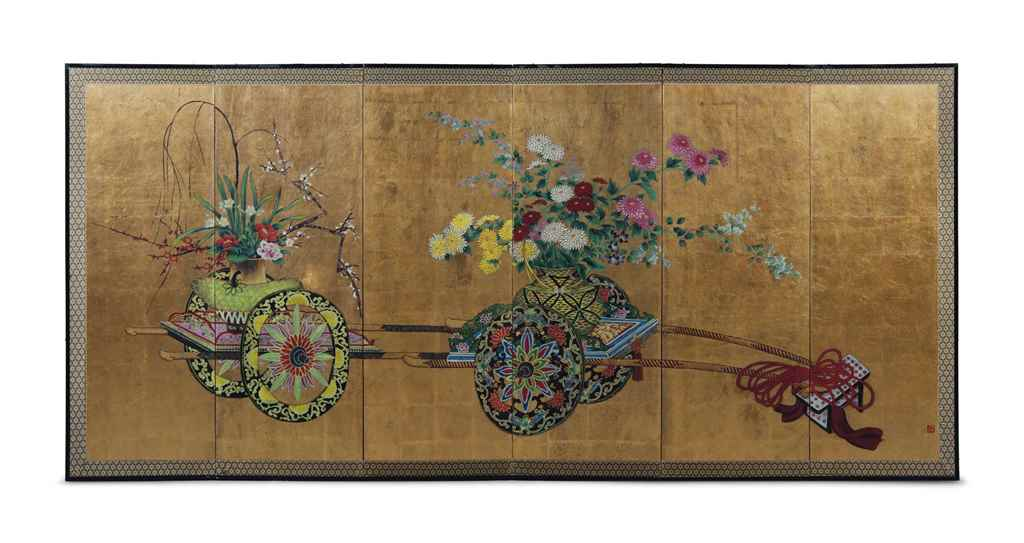 A JAPANESE SIX-PANEL SCREEN