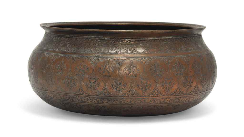 A LARGE SAFAVID TINNED-COPPER