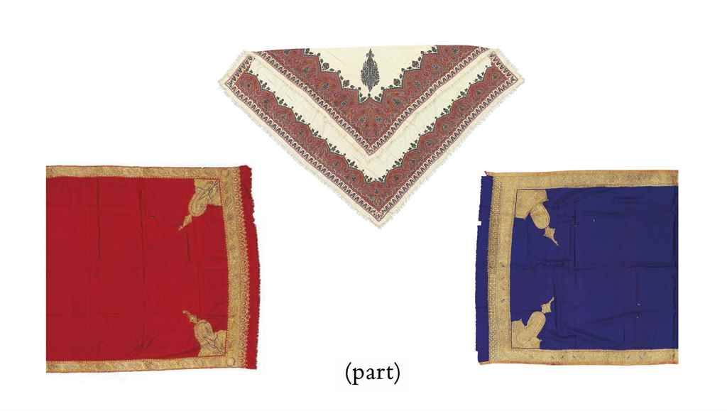 A GROUP OF SIX INDIAN SHAWLS