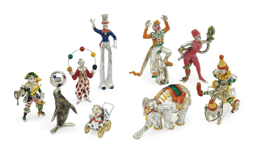 A GROUP OF SILVER AND ENAMEL C