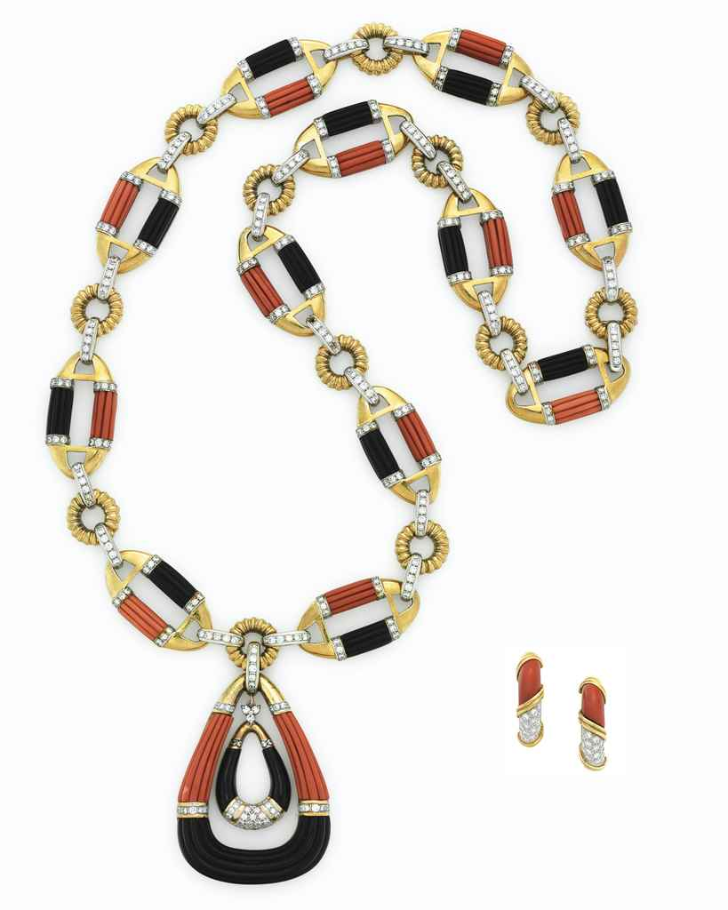 A SET OF ONYX, CORAL AND DIAMO