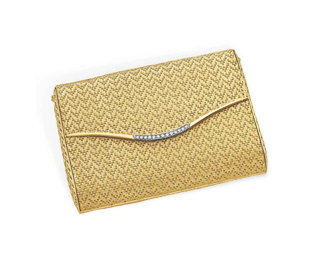 A GOLD AND DIAMOND EVENING BAG