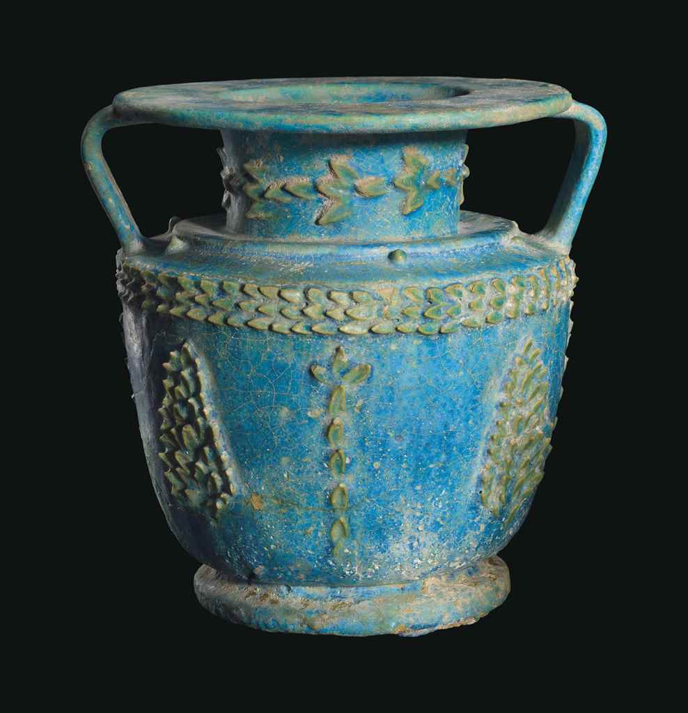 AN EGYPTIAN FAIENCE AMPHORA