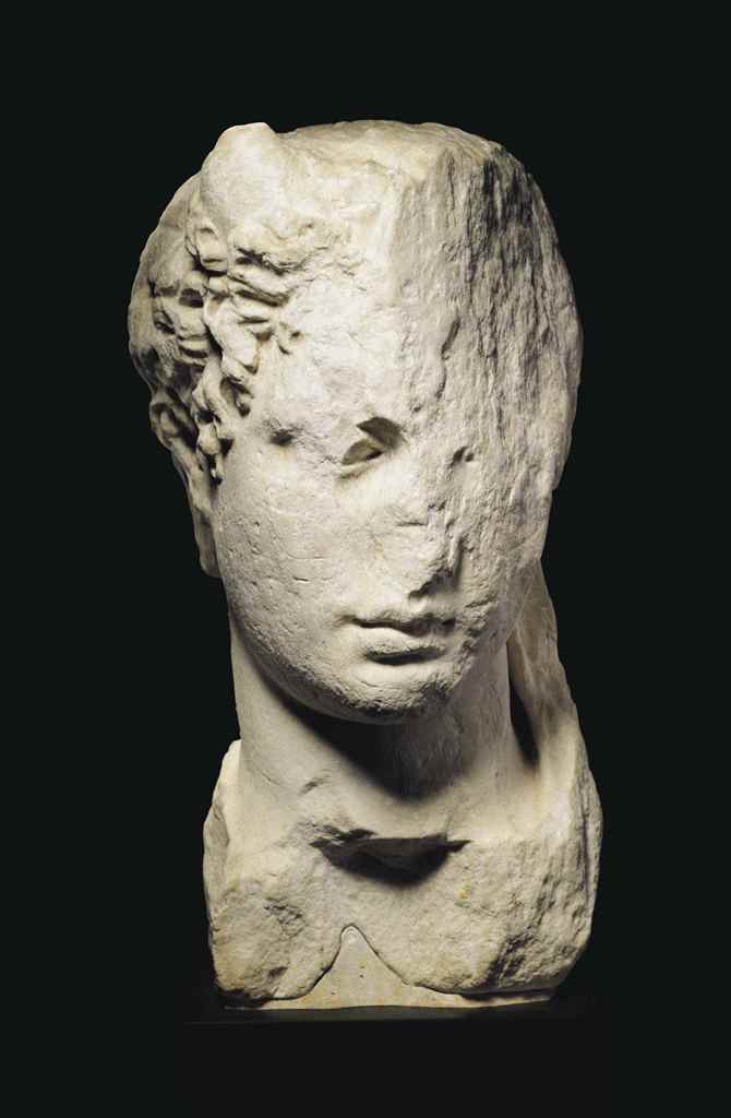 A GREEK MARBLE HEAD OF A RULER
