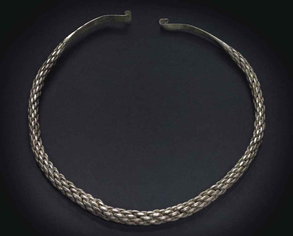 A VIKING SILVER BRAIDED TORQUE