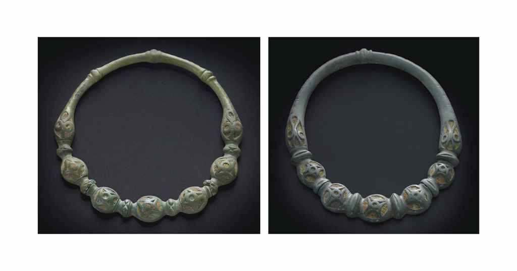 TWO CELTIC BRONZE TORQUES WITH