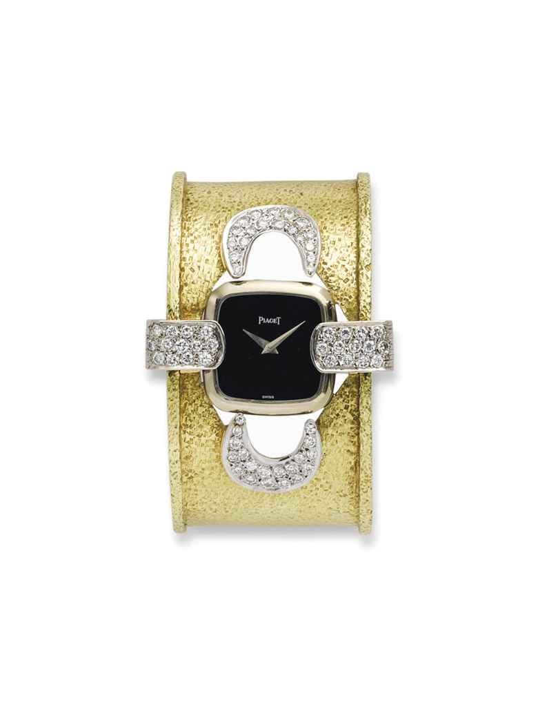 A DIAMOND BRACELET WATCH, BY M
