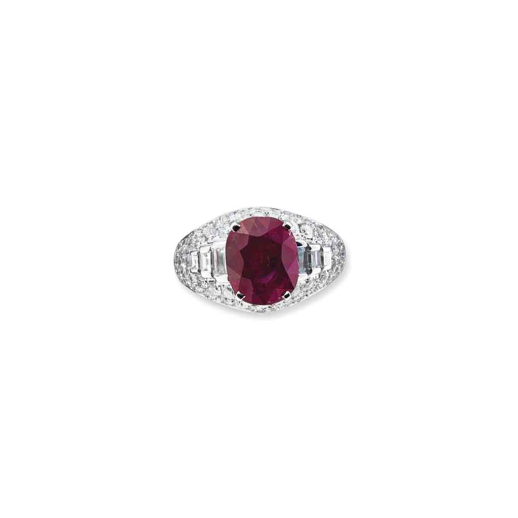A RUBY AND DIAMOND 'TROMBINO'