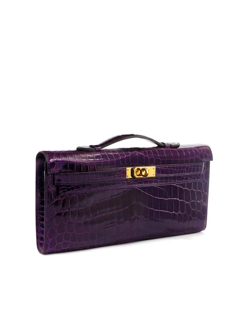 POCHETTE KELLY CUT EN CROCODIL