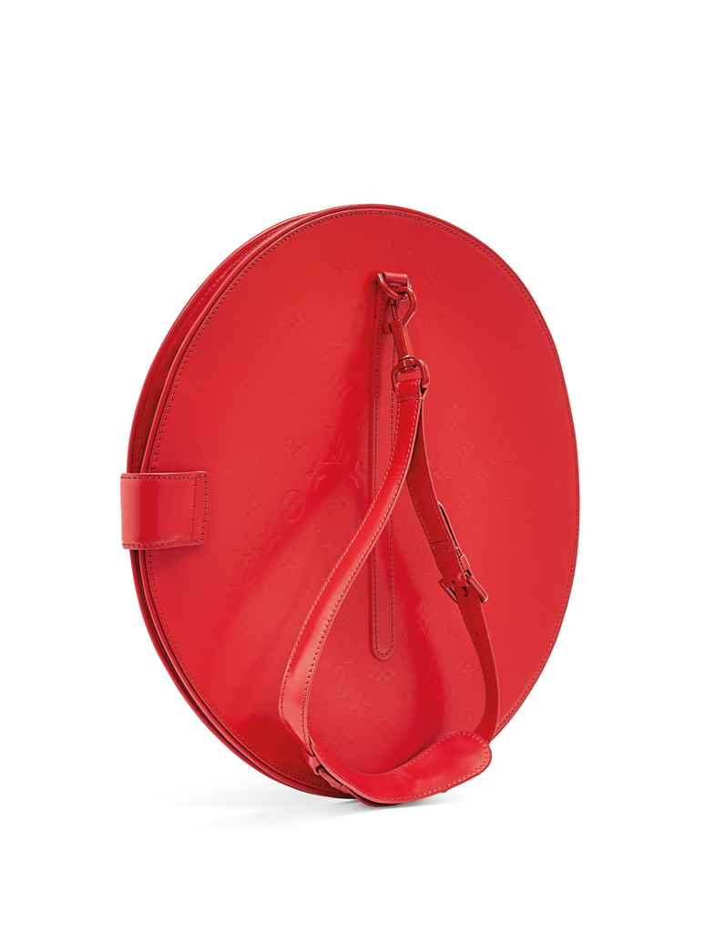 Sac op art circulaire en veau miroir rouge garniture en for Miroir circulaire