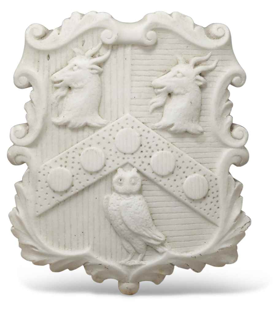 A GILTWOOD ARMORIAL SHIELD