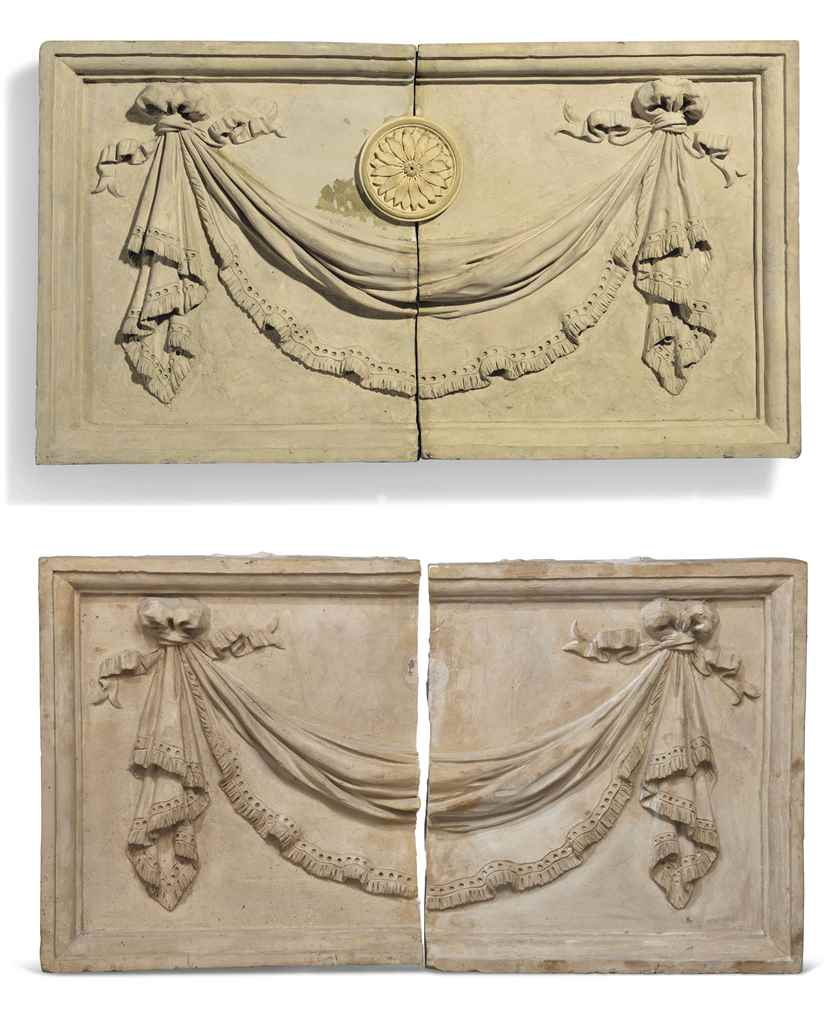 A PAIR OF COADE STONE RELIEF P