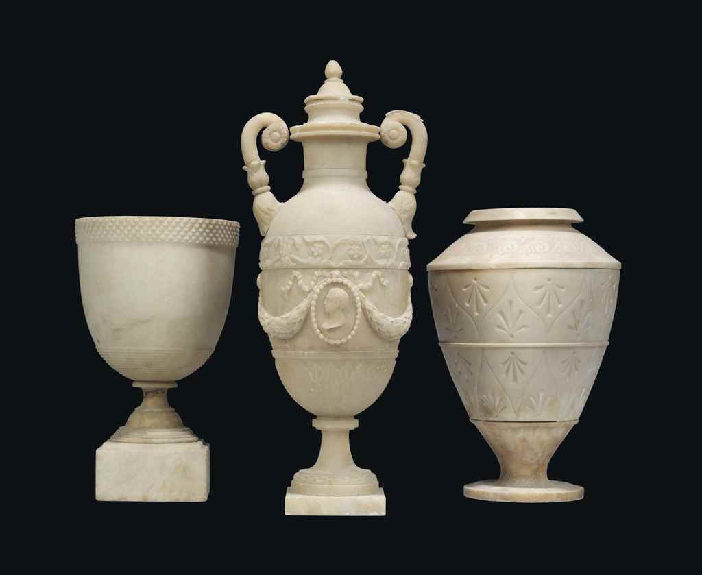 THREE ITALIAN ALABASTER VASES