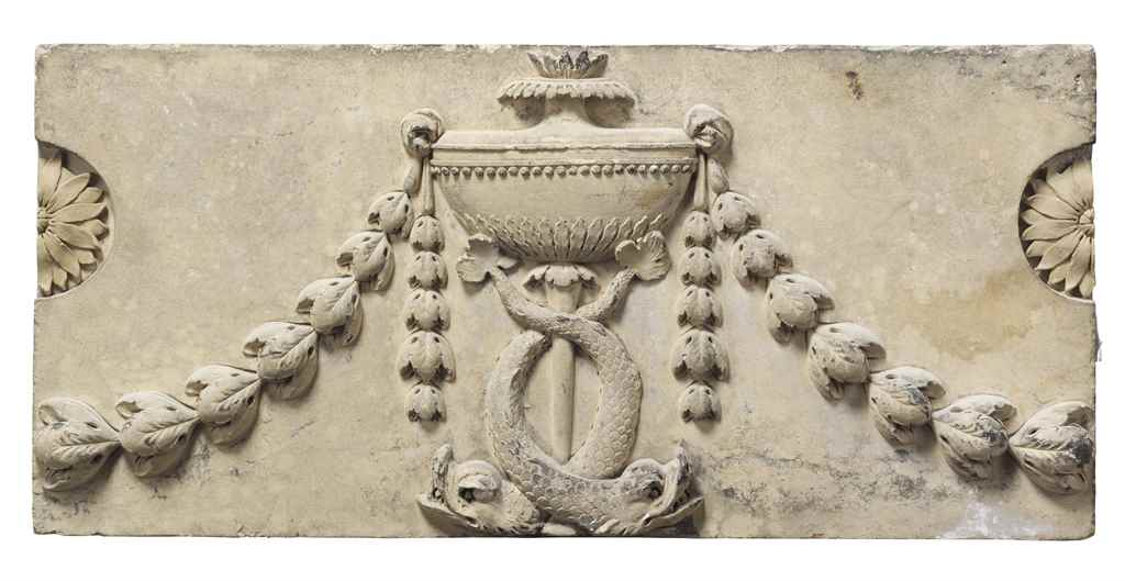 TWO COADE STONE FESTOONED FRIE