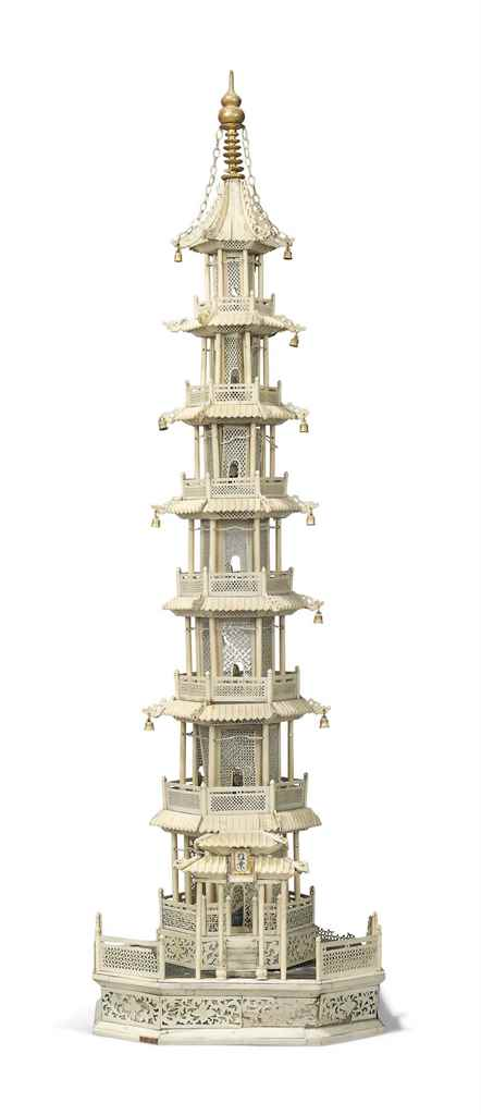 A CHINESE IVORY AND BONE MODEL