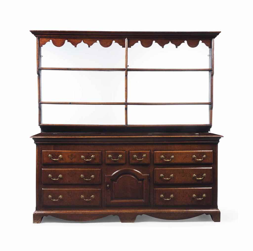 A LARGE GEORGE II OAK DRESSER