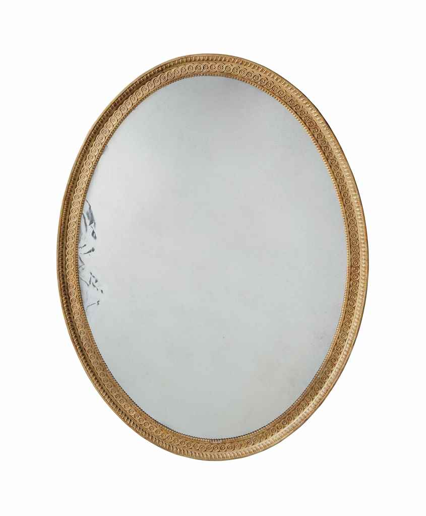 A LARGE OVAL GILTWOOD MIRROR W