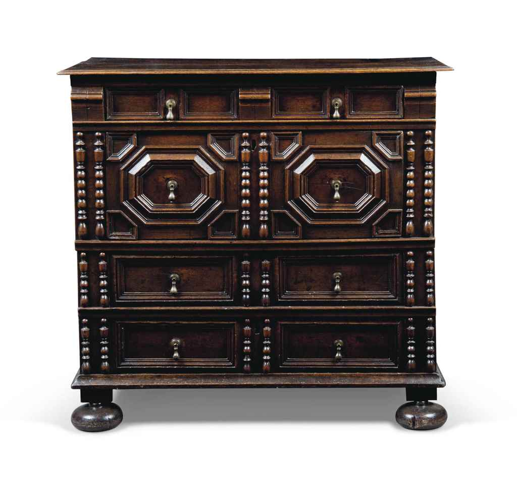 A CHARLES II OAK FOUR-DRAWER C