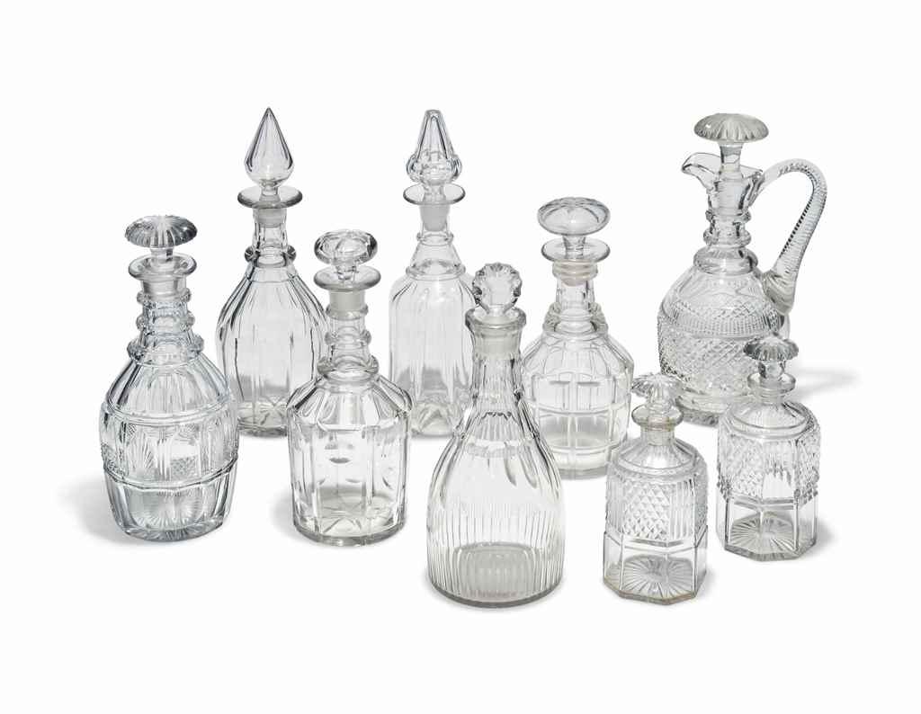 A GROUP OF NINE CUT-GLASS DECA