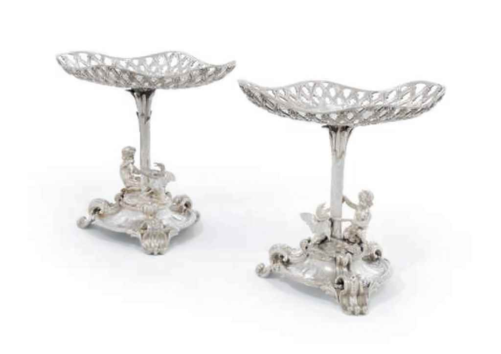 A PAIR OF FRENCH SILVER COMPOR