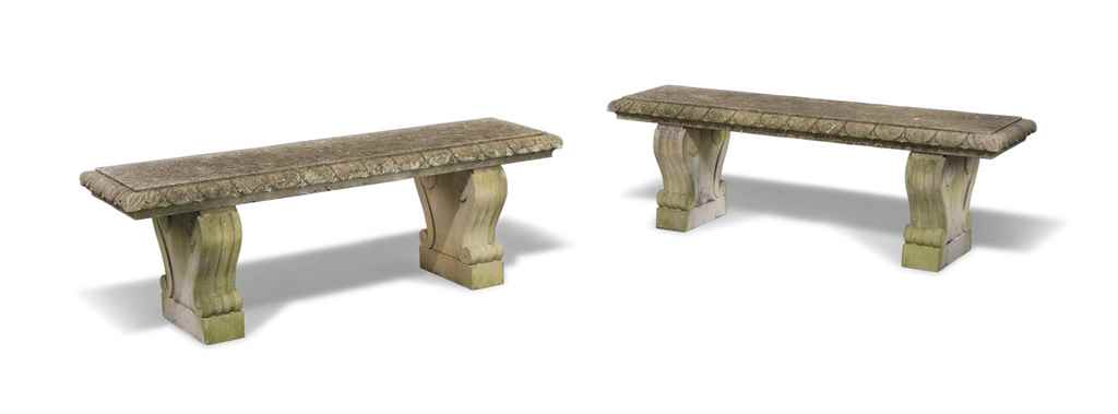 A PAIR OF LIMESTONE BENCHES