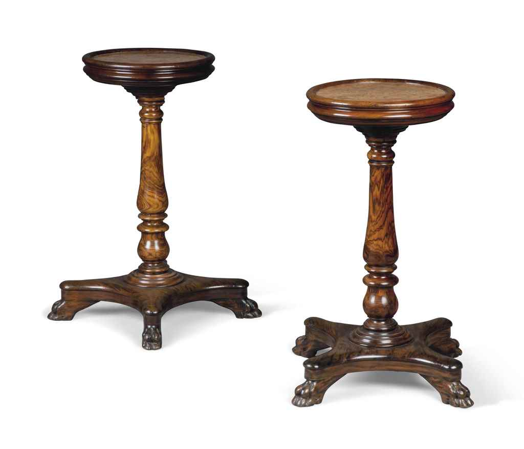 A PAIR OF MARBLE-INSET HARDWOO
