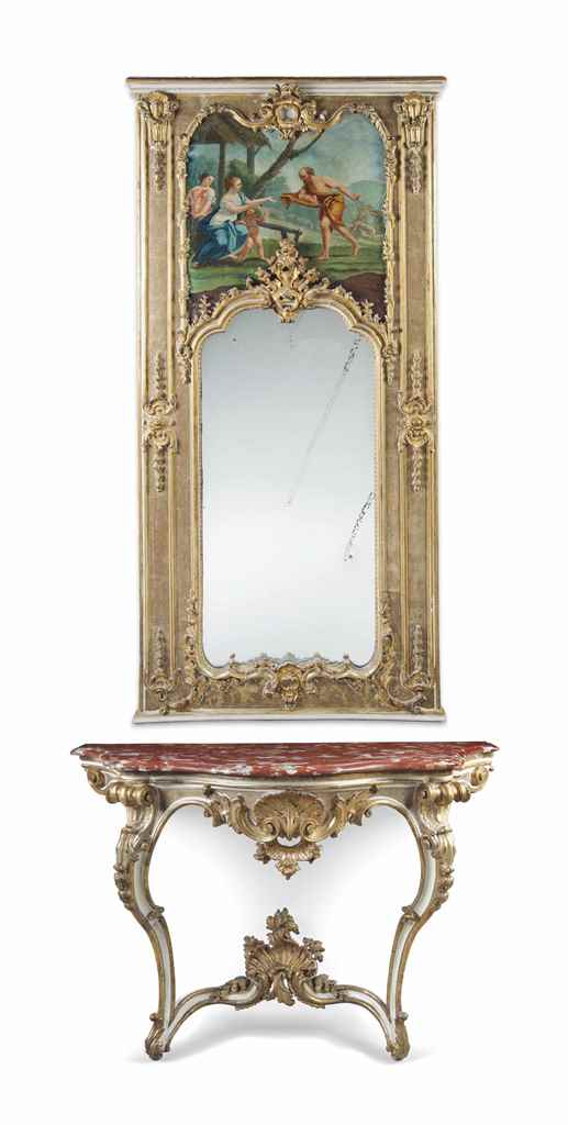 AN ITALIAN GILTWOOD AND WHITE-