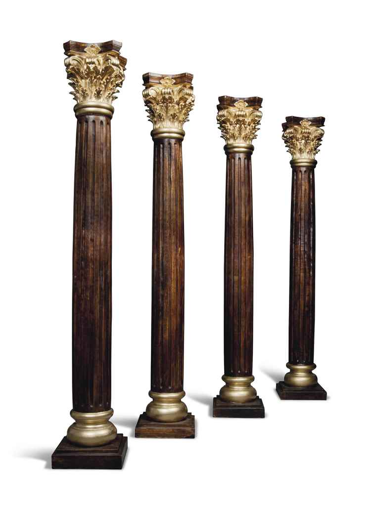 A SET OF FOUR OAK CORINTHIAN C