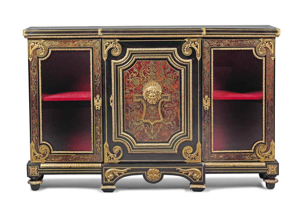 a napoleon iii ormolu mounted brass and tortoiseshell 39 boulle 39 marquetry and ebony bibliotheque. Black Bedroom Furniture Sets. Home Design Ideas