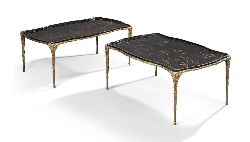A PAIR OF FRENCH ORMOLU AND BL