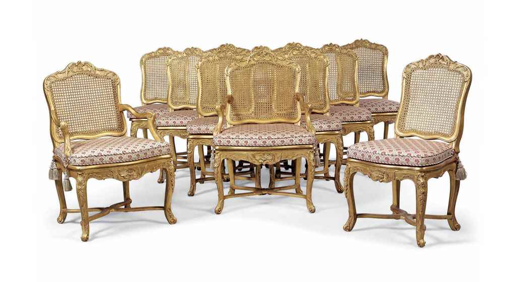 A SET OF TWELVE LOUIS XV GILTW