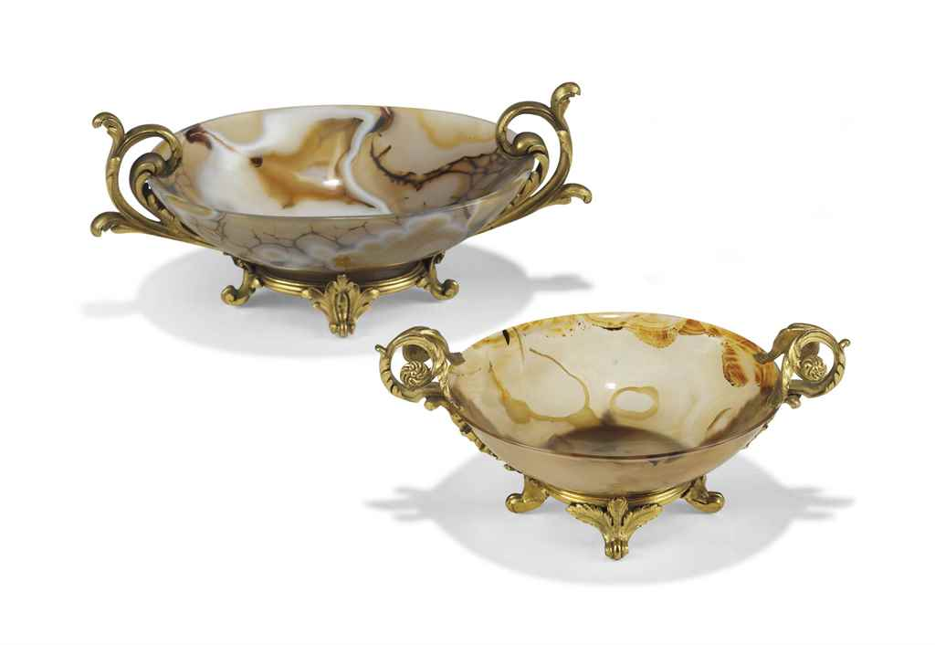 TWO FRENCH ORMOLU-MOUNTED AGAT