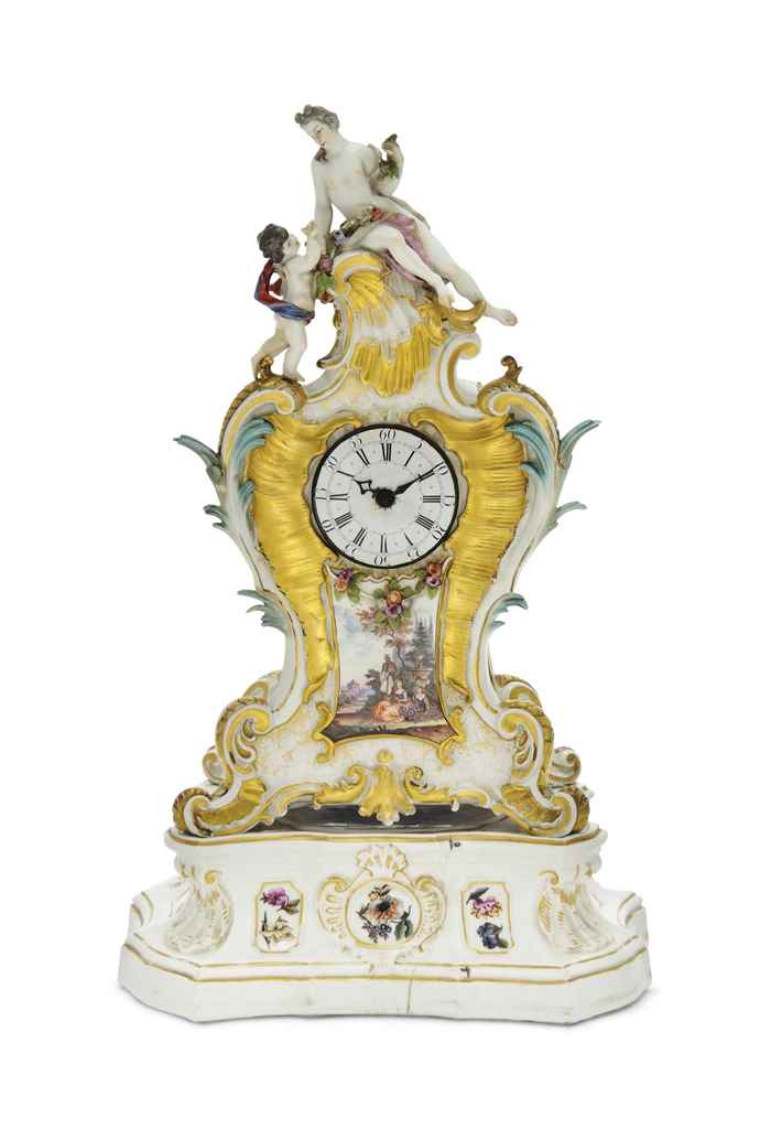 A MEISSEN MANTLE-CLOCK AND A S