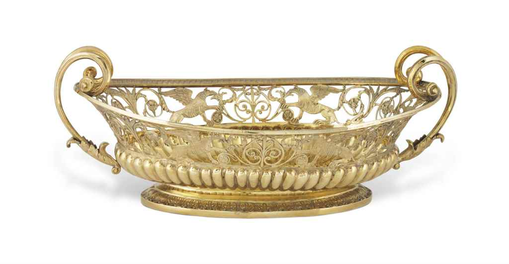 A RUSSIAN SILVER-GILT BASKET