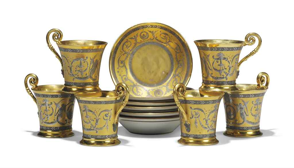 SIX NYMPHENBURG GILT AND PLATI