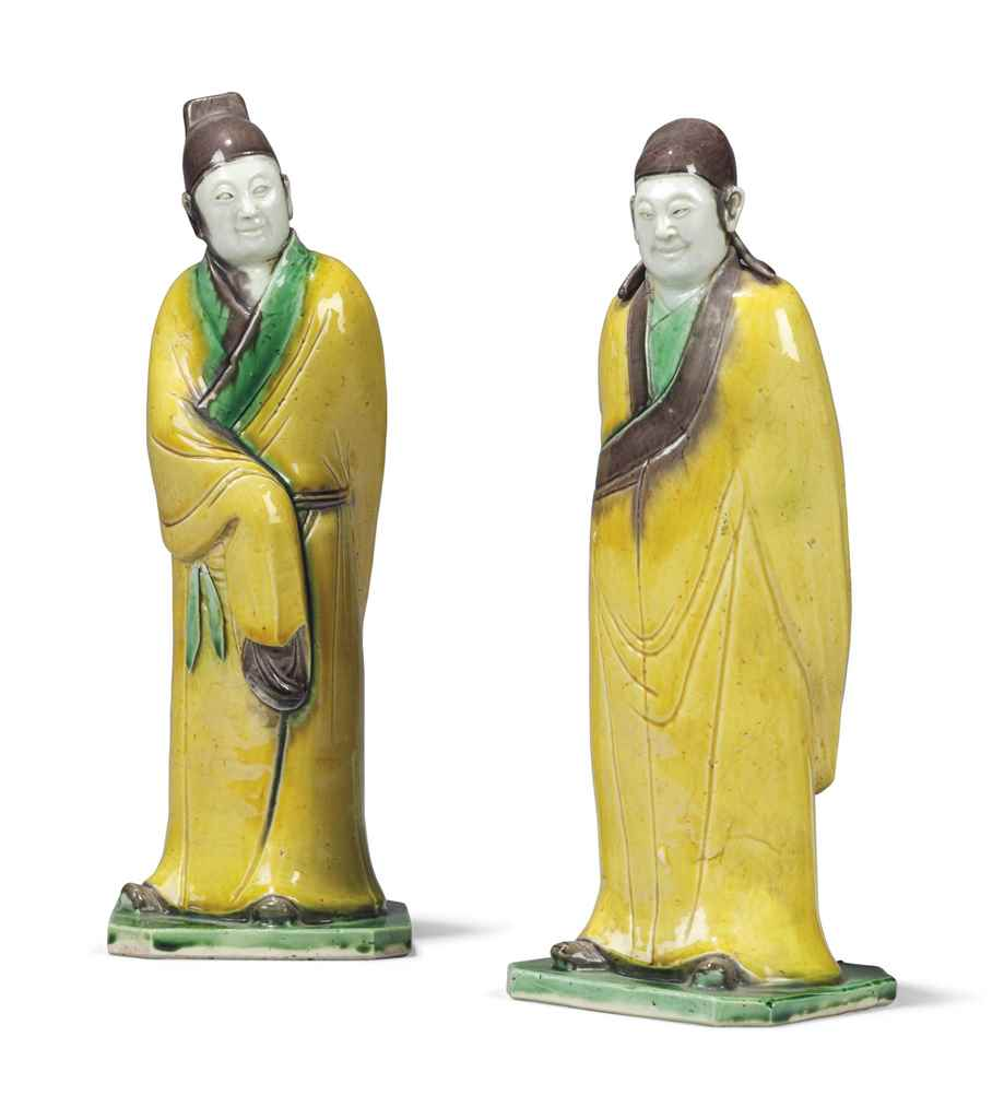 TWO CHINESE GLAZED FIGURES OF