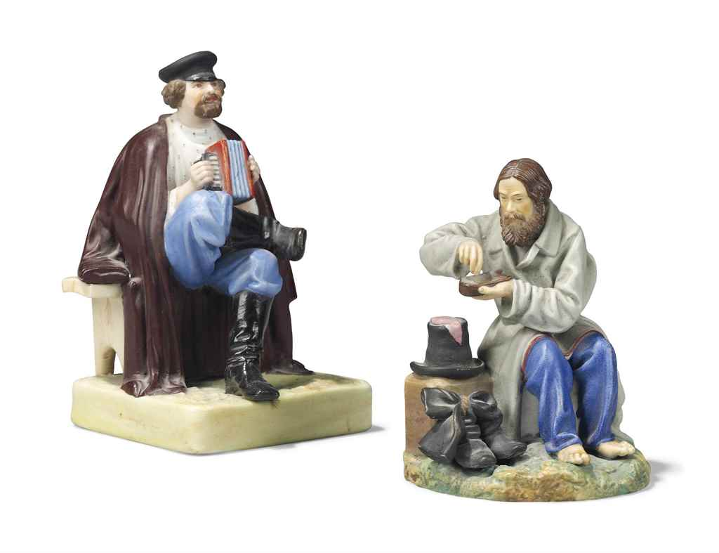 TWO RUSSIAN PORCELAIN FIGURES