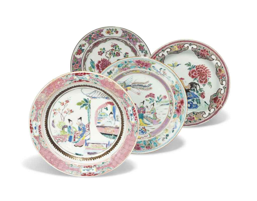 FOUR CHINESE FAMILLE ROSE PLAT