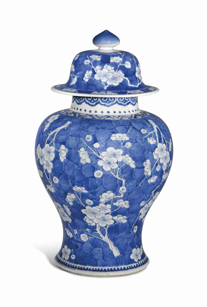 A BLUE AND WHITE 'PRUNUS' JAR