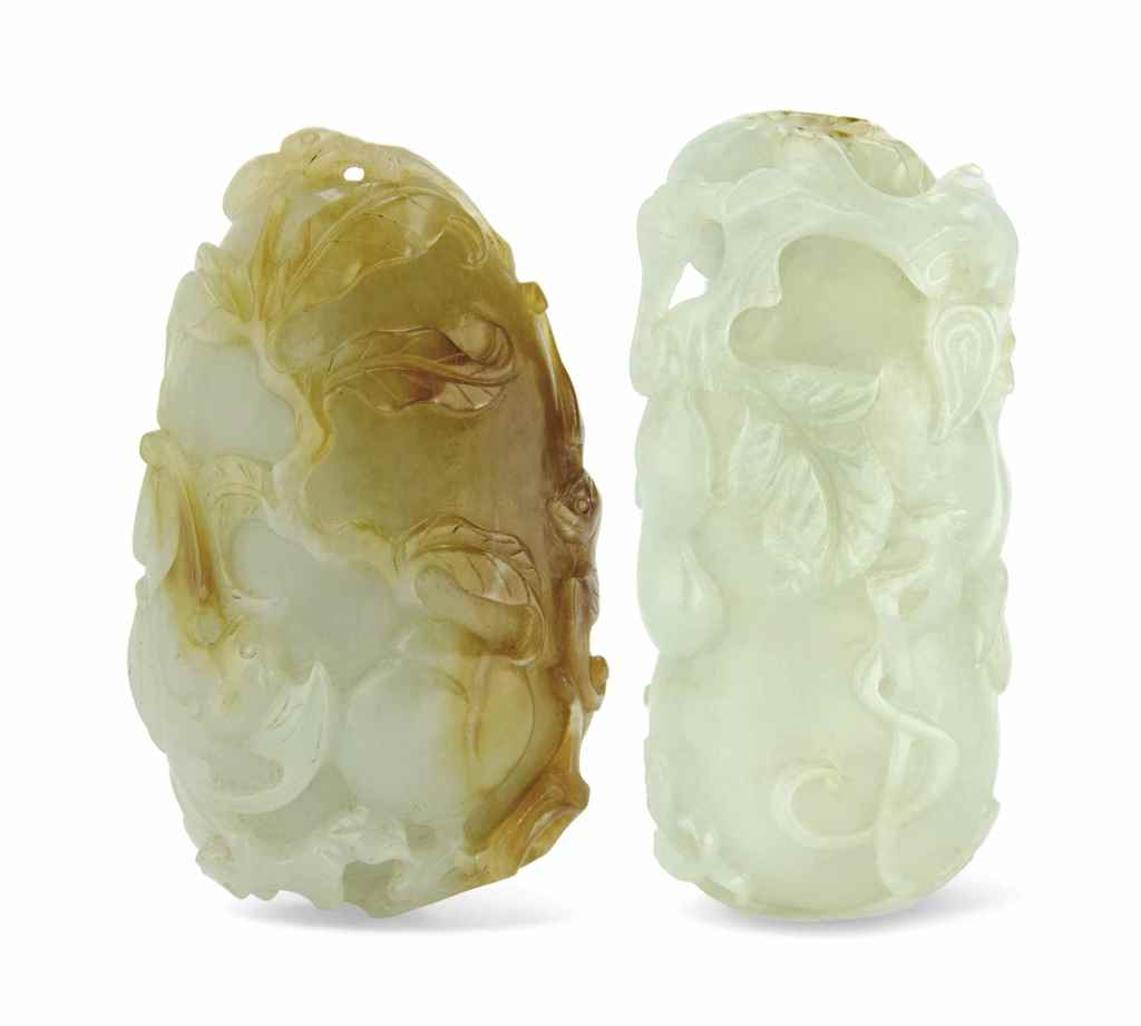 TWO WHITE AND RUSSET JADE CARV
