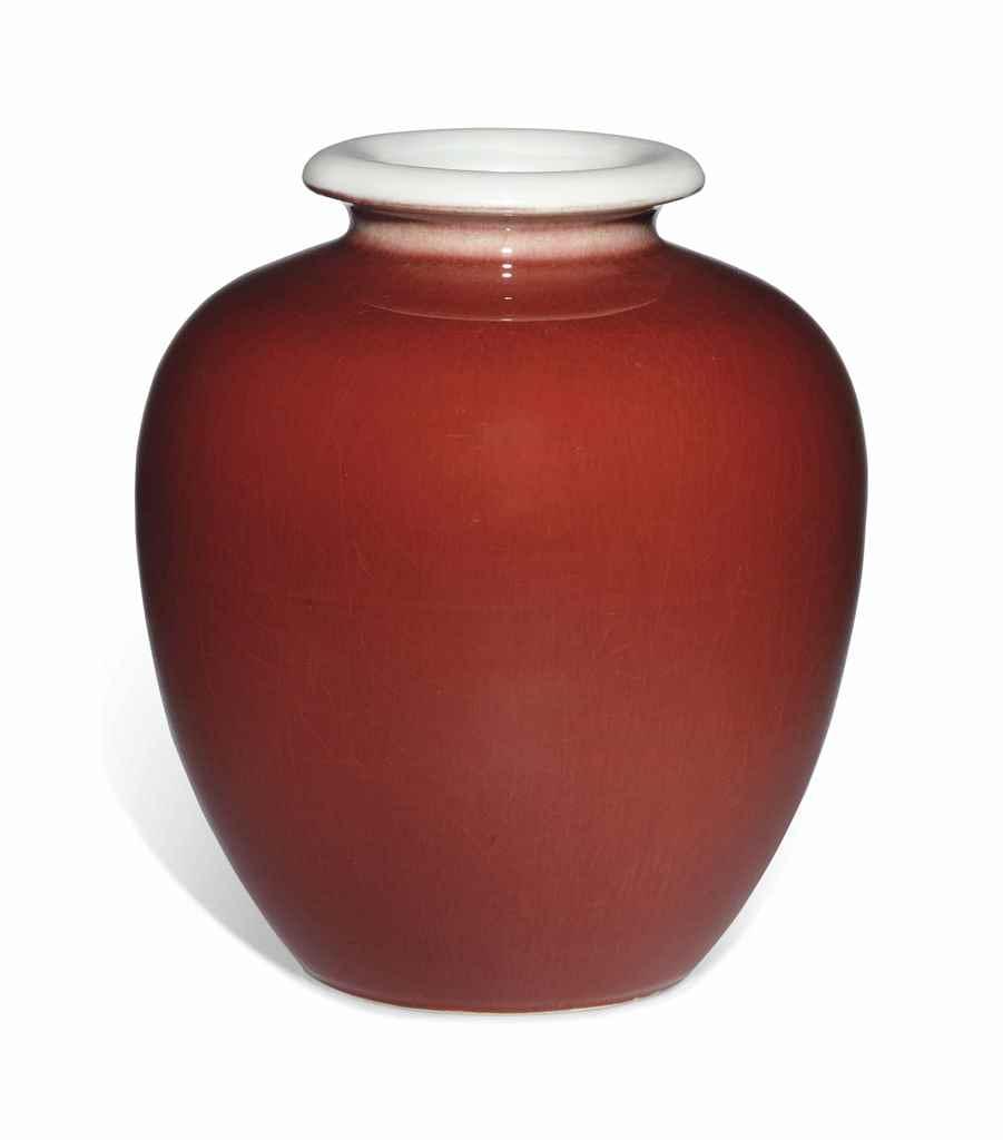 A COPPER-RED-GLAZED JAR