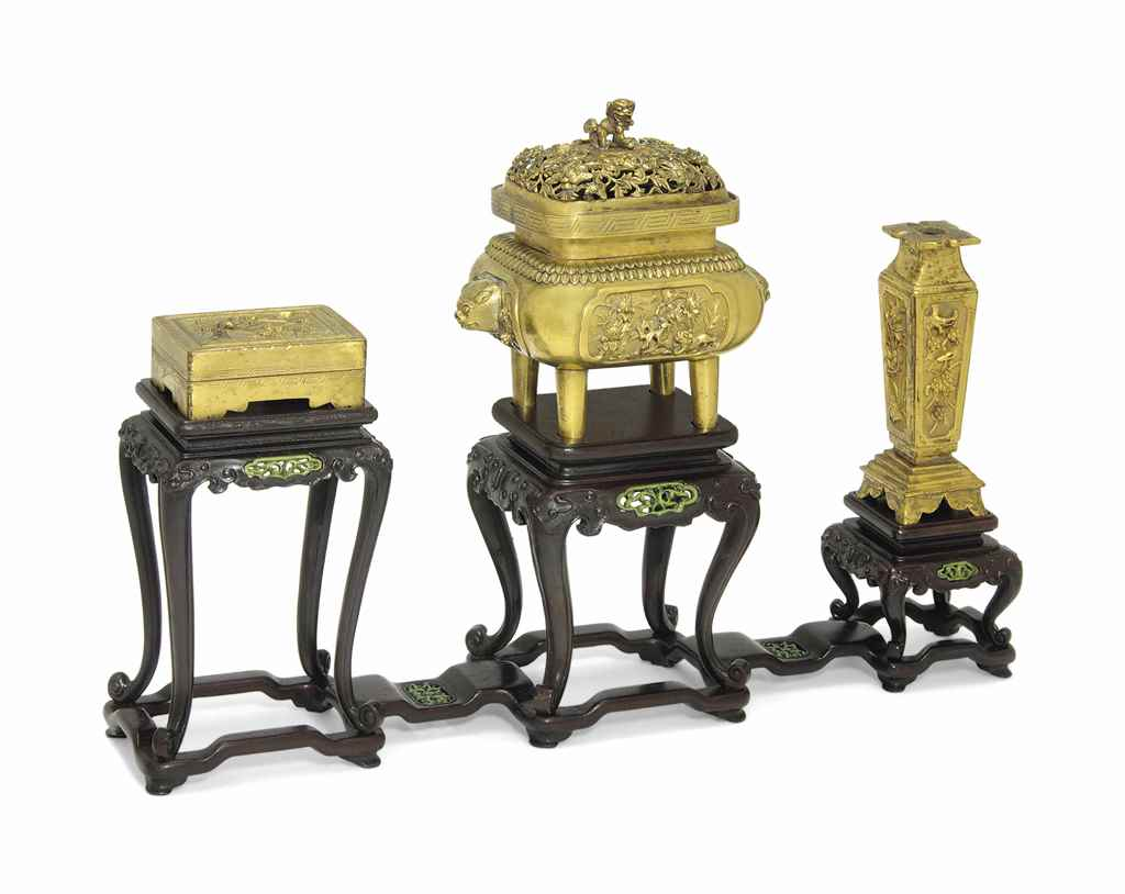 A GILT BRONZE DESK SET