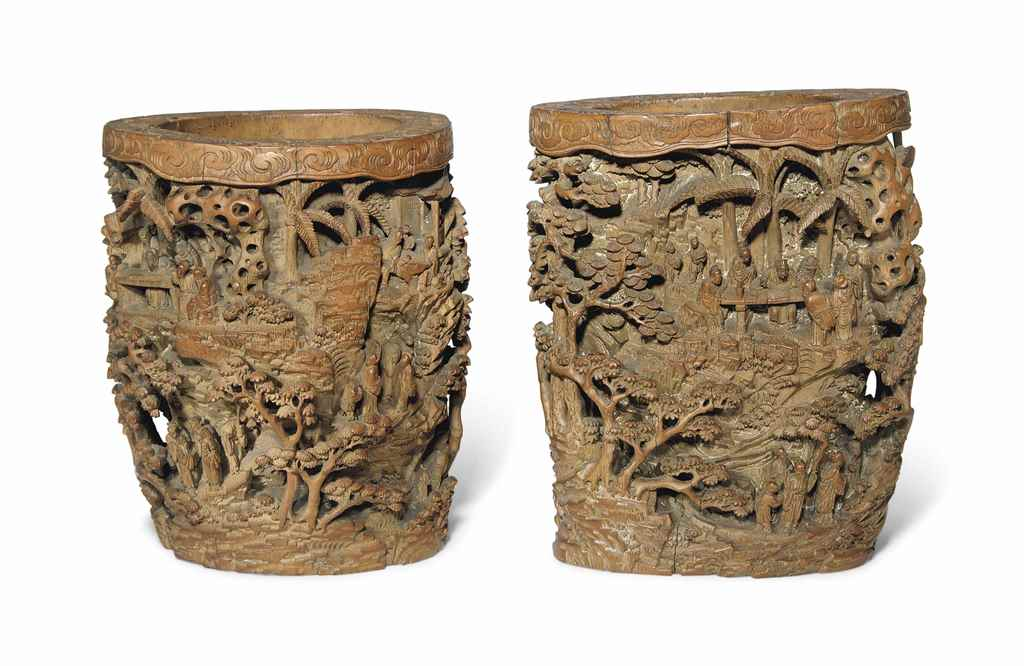 TWO CARVED BAMBOO BRUSH POTS,
